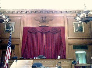Drawing of courtroom in old federal courthouse, Newark
