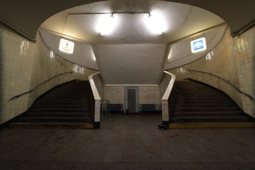 One way traffic up a staircase on the Moscow Metro