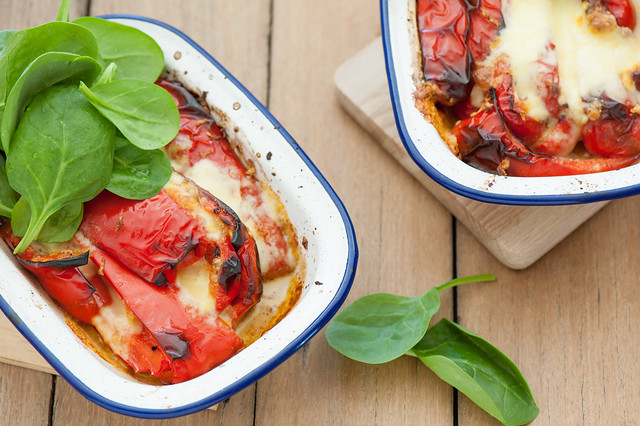 roast peppers with mozzarella