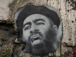 Abu Bakr al Baghdadi, painted portrait P1040030