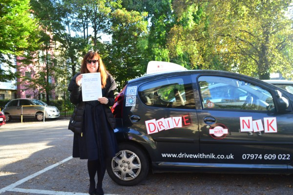 Driving lessons Palmers Green Sarah passed her practical driving test first time with Drive with Nik