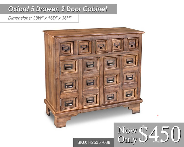 h2535-038 -- Oxford 5 Dwr, 2 Door Cabinet - Dimensions - 38 x 16 x 36 $450