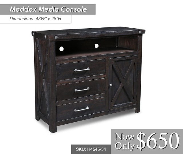 h4545-34-- 48w x 28 H Maddox Media Console $650