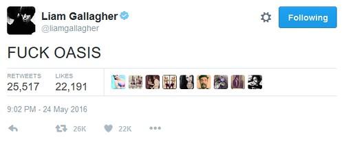 Liam tweet Fuck Oasis