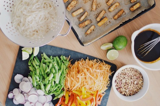 Ingredients for baked tofu pad thai
