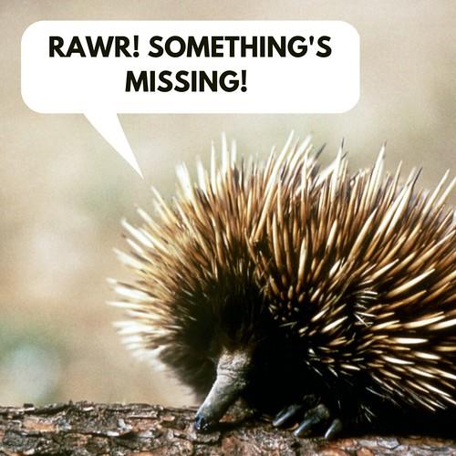 Angry hedgehog saying 'RAWR! Something's Missing!'