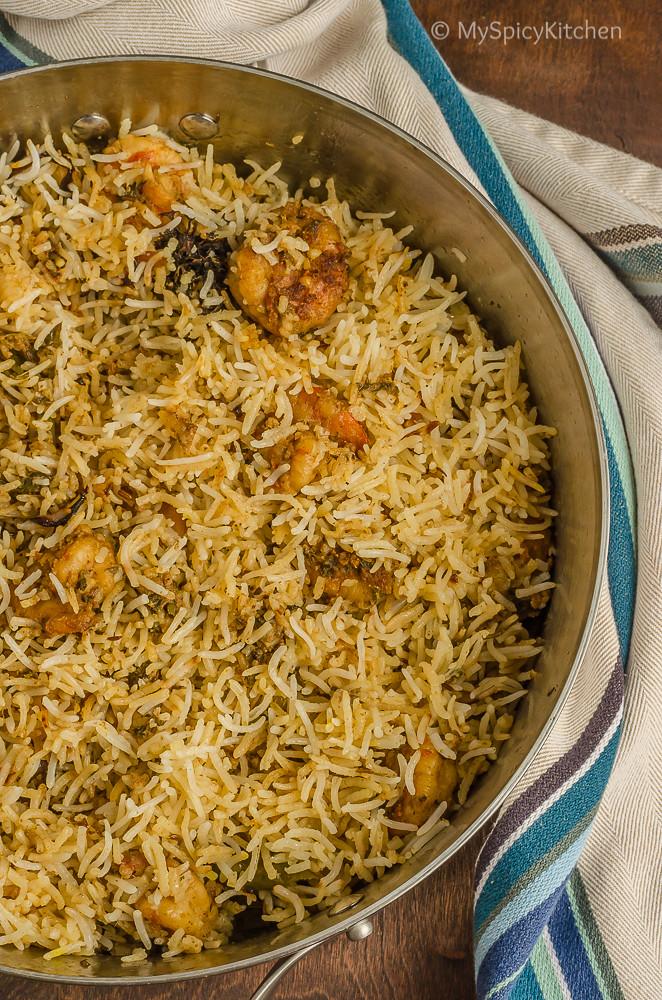 Blogging Marathon, Cooking Carnival, Protein Rich Food, Cooking With Protein Rich Ingredients, Cooking With Shrimp, Shrimp Recipes, Seafood, Prawns, Shrimp Biryani, Shrimp Dum Biryani, Hyderabadi  Prawn Biryani, Hyderabad Prawn Dum Biryani, One Pot Meal, Biryani,