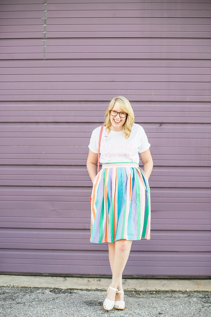 ModCloth Aspiration Creation skirt and Swedish Hasbeen clogs