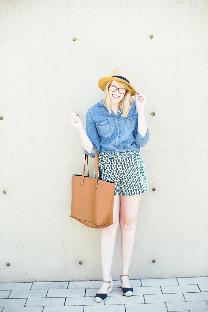 printed shorts chambray shirt4