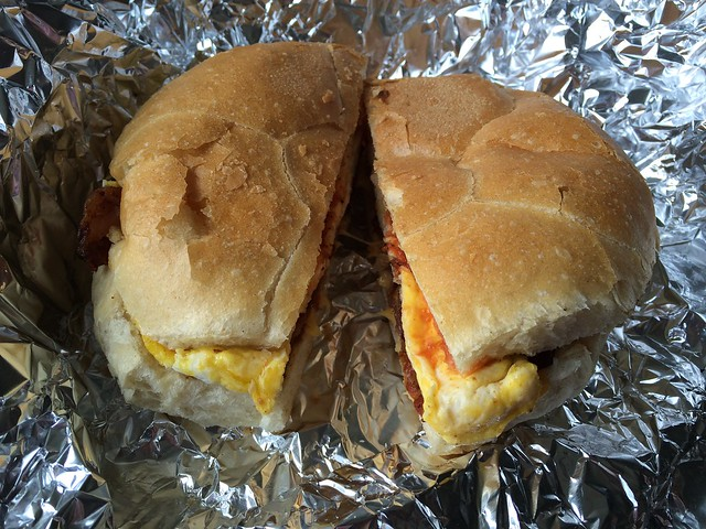 Not even in New York an hour yet and already having a proper bacon, egg and cheese sandwich.