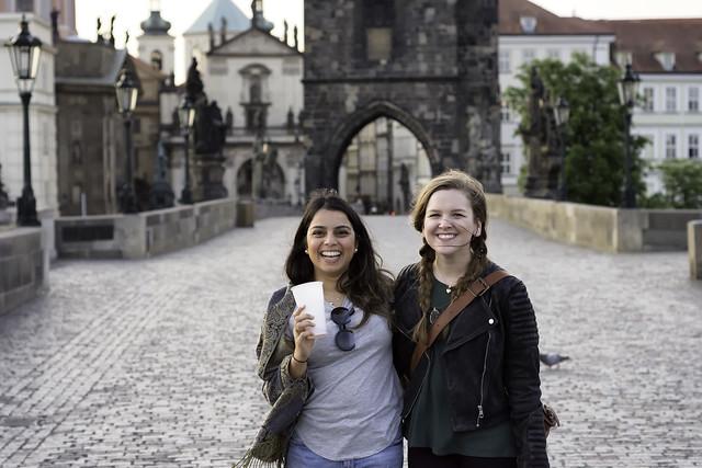 Angela and Meera on Charles Bridge