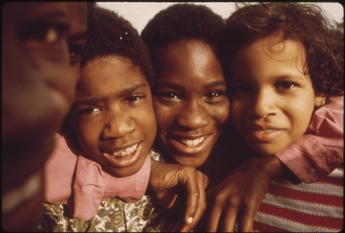 Minority Youngsters Who Gathered To Have Their Picture Taken On Chicago's South Side During A Community Talent Show, 08/1973