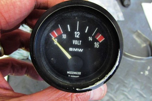 Motometer Volt Meter with White Markings, Front