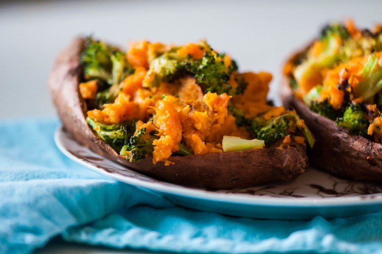 Cheesy Broccoli Twice Baked Sweet Potatoes 1
