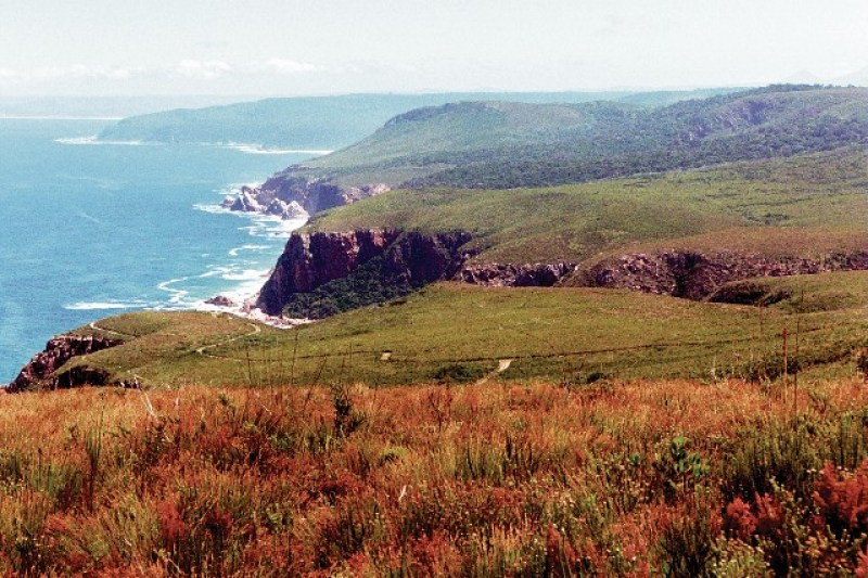 View from escarpment on rugged coastline