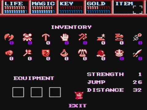 Dragon Slayer IV inventory system