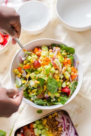 Chickpea Wheat Berry Salad