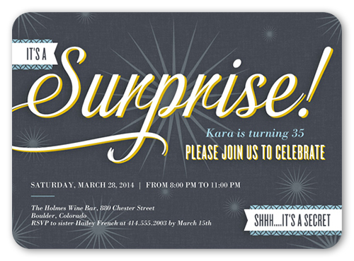 Its A Surprise Surprise Birthday Invitation Shutterfly