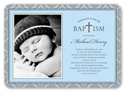 Radiant Cross Boy 5x7 Invitation Baptism Invitations