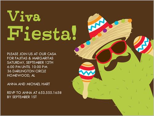 Party Cactus 4x5 Invitation Card Party Invitations