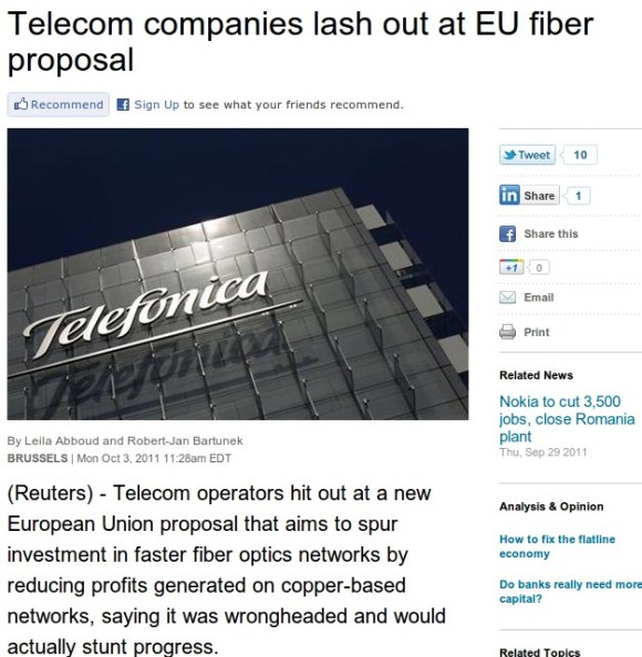 Telecom companies lash out at EU fiber proposal