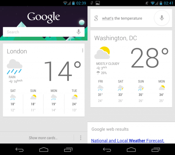 Android Jelly Bean - Google Now/Search App - Weather