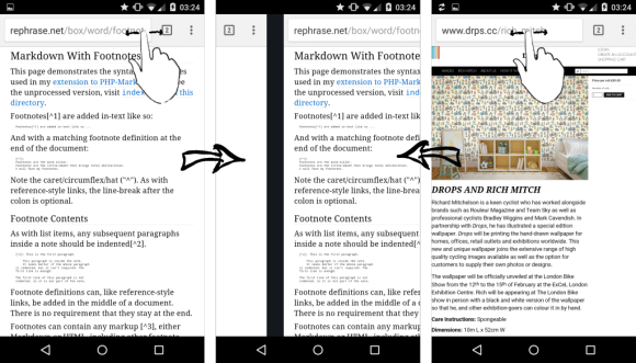 Swipe top bar to switch tabs, in Chrome for Android