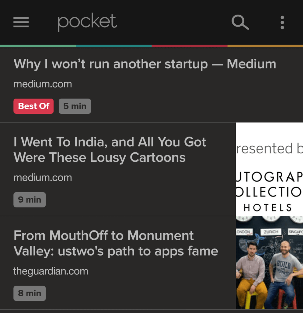 Reading time tags in Pocket for Android