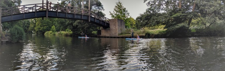 Pano created by Google photos. There weren't two sets of identical dad-daughter twins paddle boarding around :)
