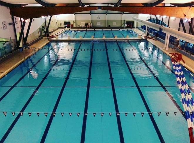 The pool. (Being split into two 25m halves after our morning session)
