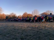 All set for park run start - buggies to one side, dogs to the other