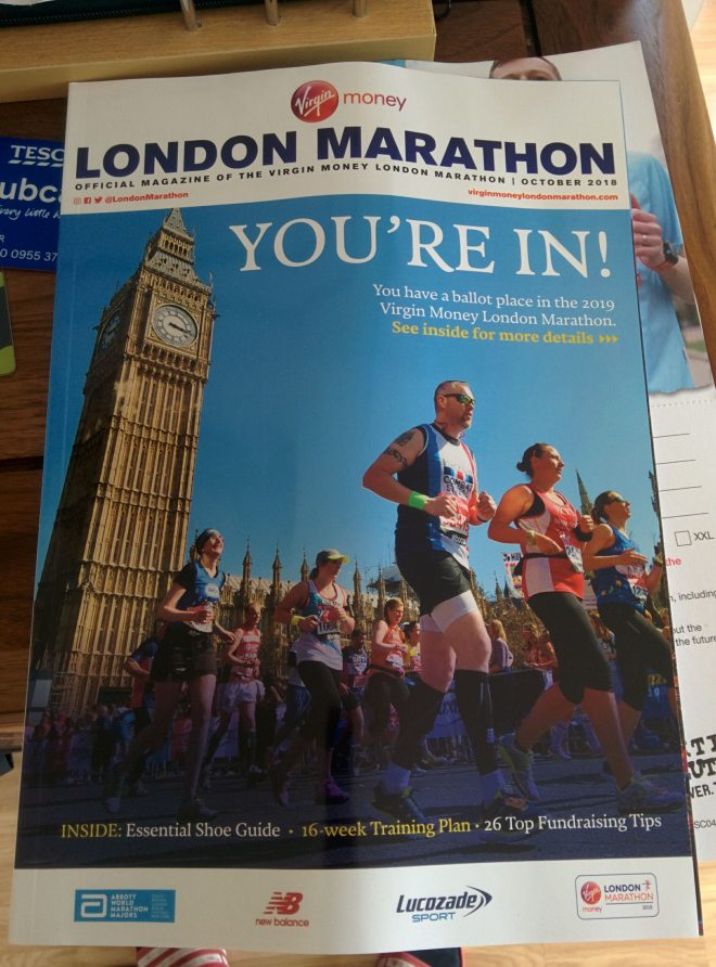 You're in - London Marathon 2019