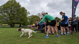 Raring to go (he was the first dog finisher)