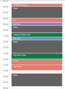 An example day plan in Calendar