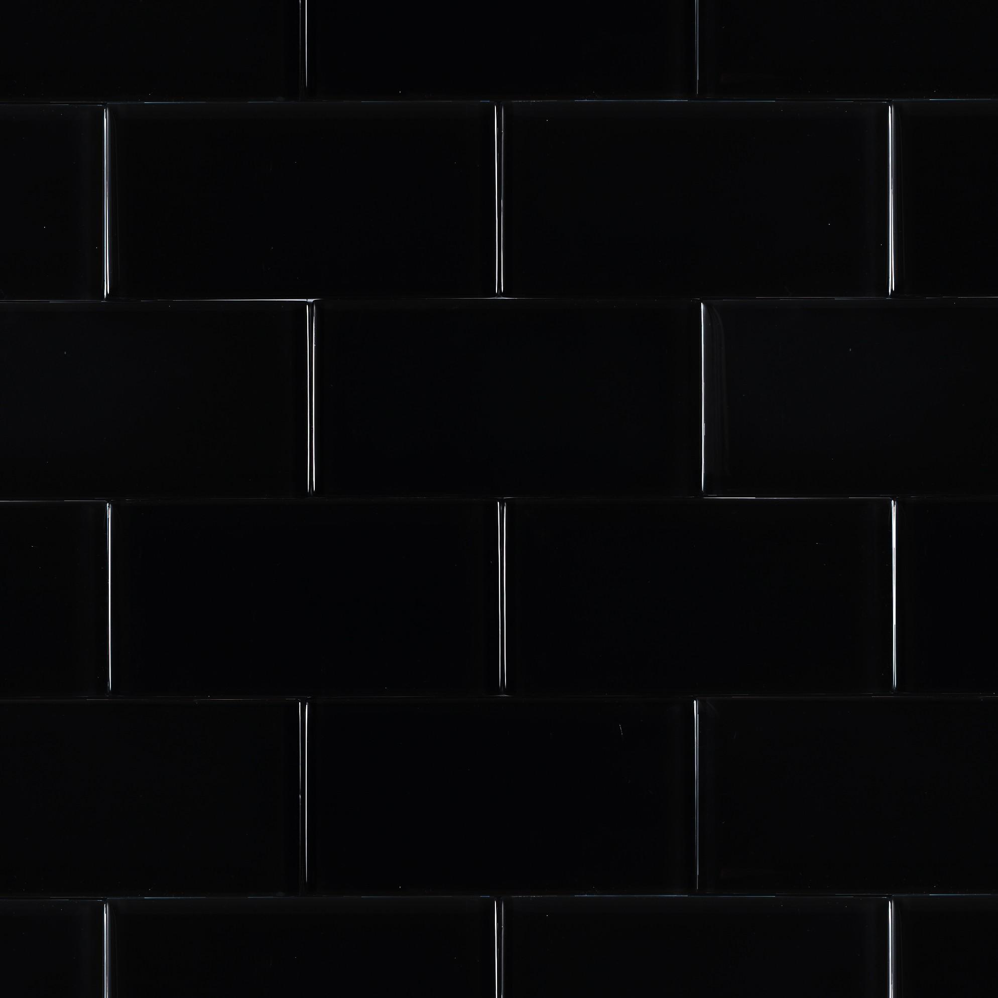 Shop For Loft Classic Black Polished 3x6 Glass Tile At