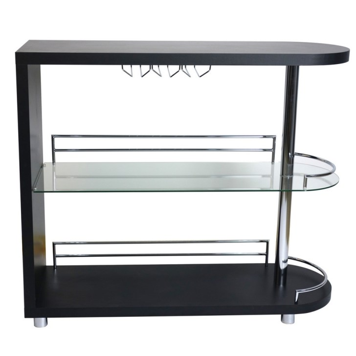 Homegear Deluxe Kitchen Bar Table Black