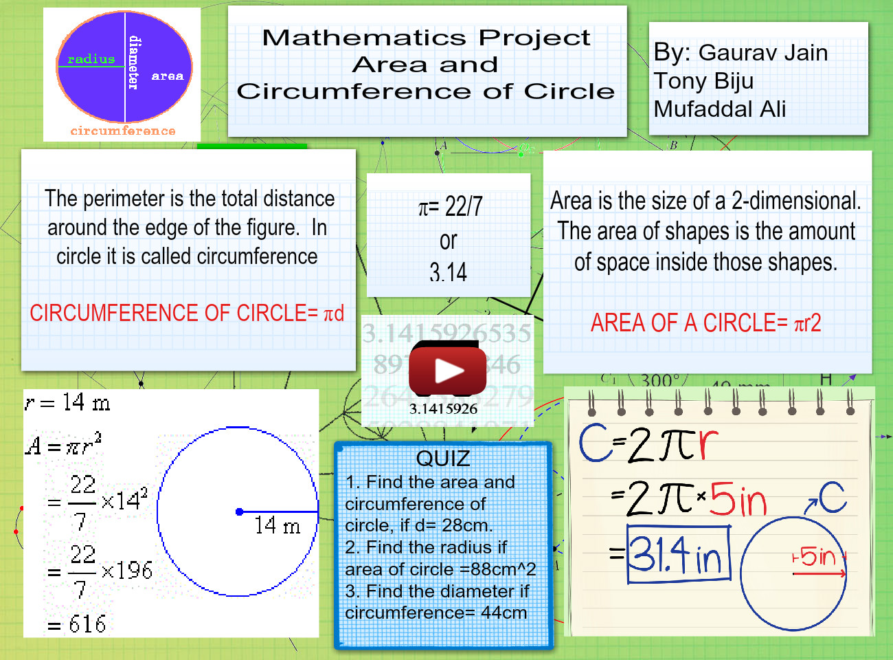Maths Area And Cicumference Of Circle Amount Area