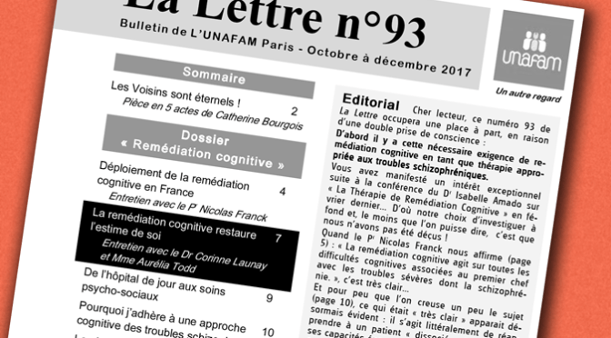 La lettre de L'UNAFAM-Paris : dossier Remédiation Cognitive