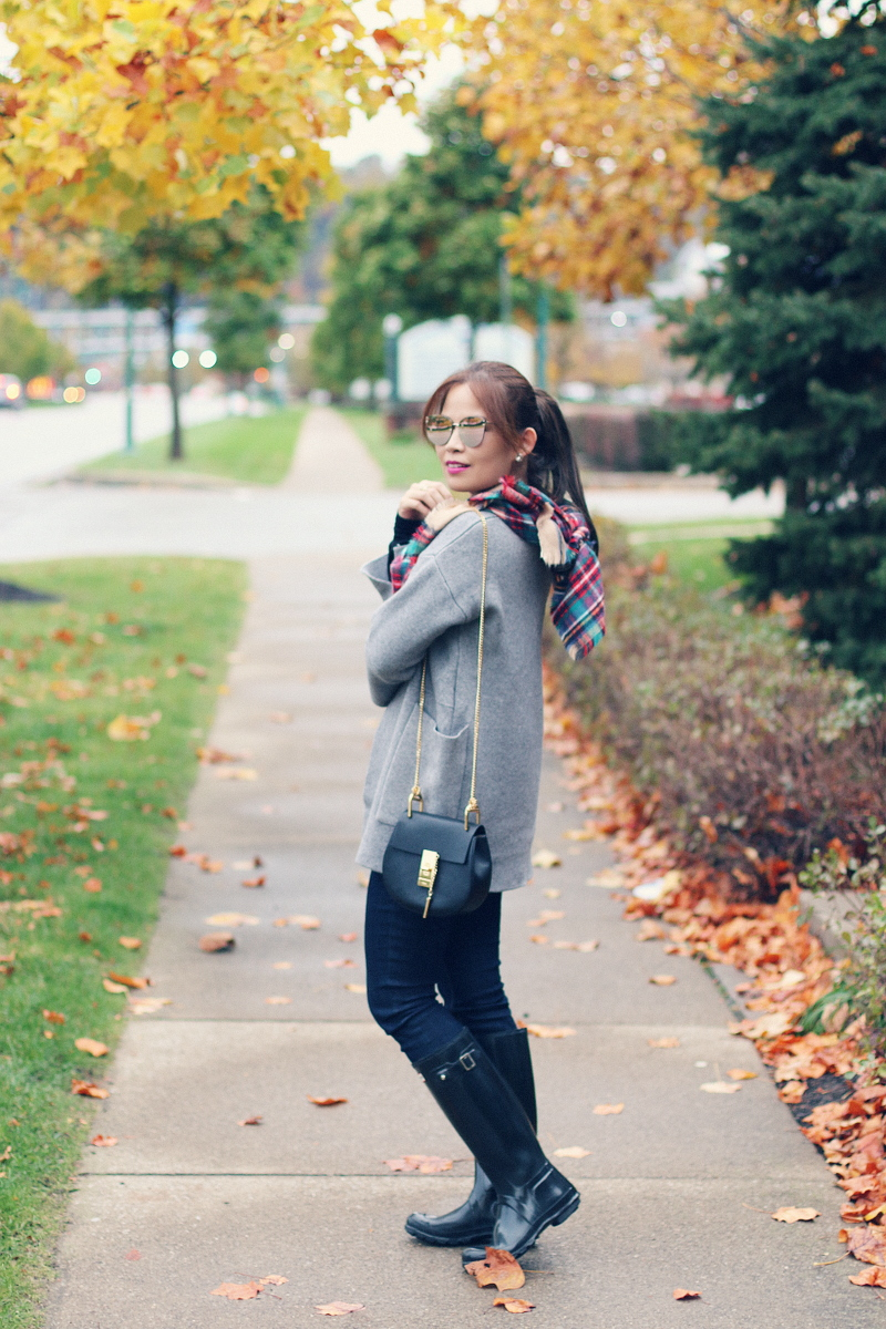 gray-cardigan-plaid-scarf-mirrored-sunglasses-hunter-boots-1