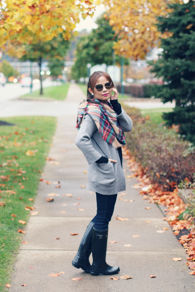 gray-cardigan-plaid-scarf-mirrored-sunglasses-hunter-boots-2