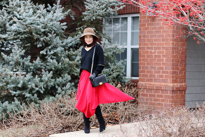 red-skirt-choker-sweater-suede-boots-hat-5