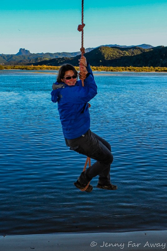 Wheeee! At Opera Point, Coromandel, New Zealand.