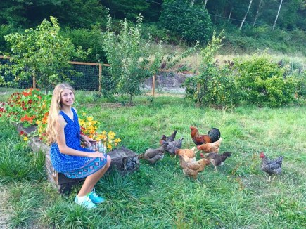 nina with chickens