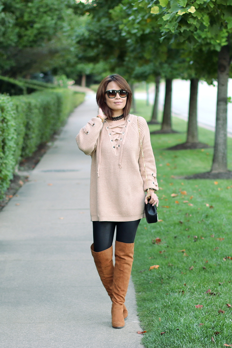 lace-up sweater, faux leather leggings, sammy dress choker, otk boots