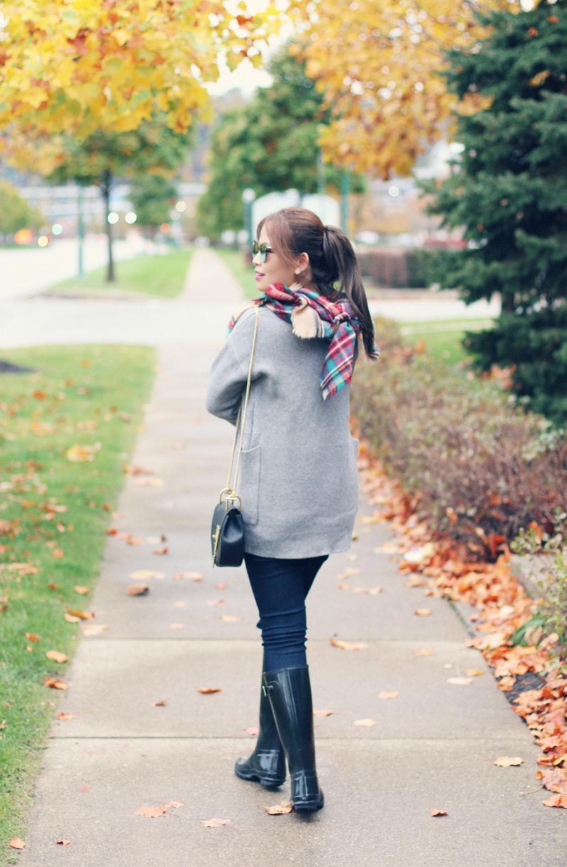 gray-cardigan-plaid-scarf-mirrored-sunglasses-chloe-drew-bag-4