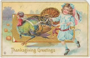"""Thanksgiving greetings"" Postcard. 1911. NY Public Library Digital Collections"