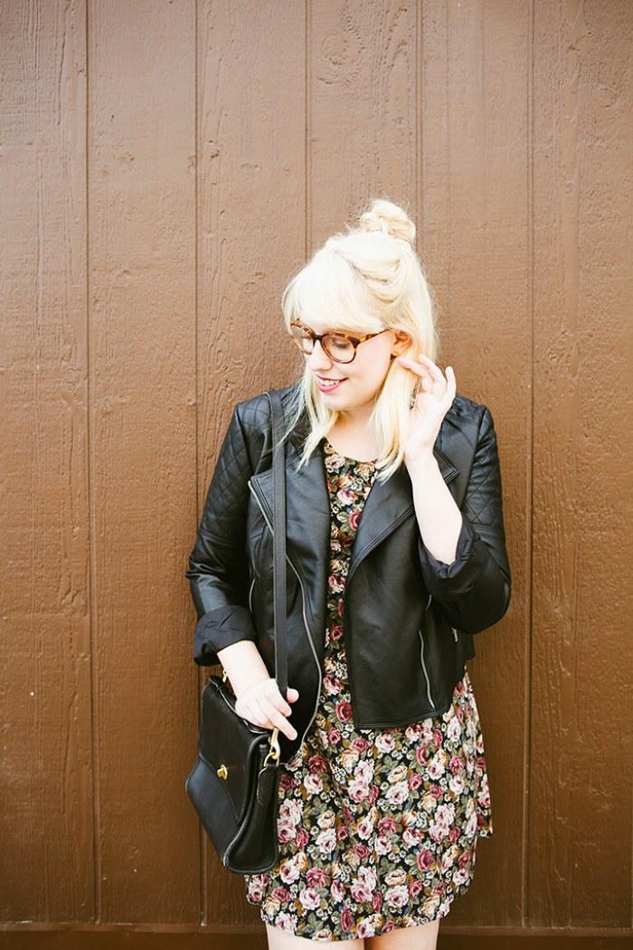 writes like a girl vintage floral dress bb dakota pierre moto jacket10