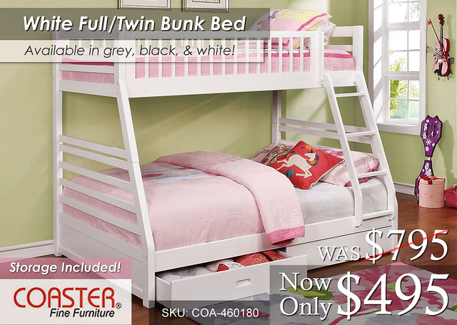 White TF Coaster Bunk Bed