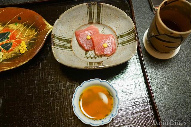 Sashimi of koshibi (young bluefin tuna), mustard, soy-marinated egg yolk sauce