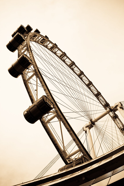 Underneath the Singapore Flyer